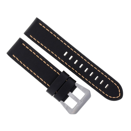 22MM LEATHER WATCH BAND STRAP FOR BREILTLING NAVITIMER COLT BLACK ORANGE ST