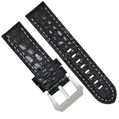 BIG 24MM GATOR LEATHER WATCH BAND STRAP FOR PAM PANERAI BLACK WS BUCKLE BRUSH #13