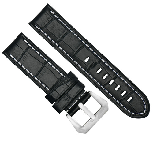 BIG 24MM GATOR LEATHER WATCH BAND PAM STRAP FOR PANERAI BLACK BUCKLE POLISH #14
