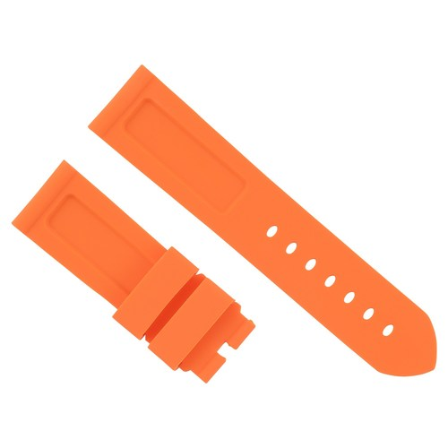 24MM RUBBER DIVER STRAP BAND FOR PAM PANERAI LUMINOR RADIOMIR MARINA ORANGE