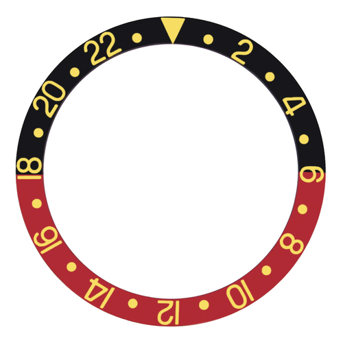 BEZEL INSERT FOR  ROLEX GMT 16700,16710, 16718,16760 BLACK/RED GOLD FONT