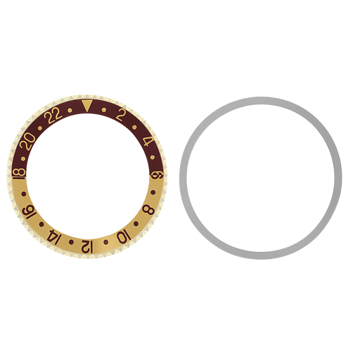 BEZEL+ INSERT FOR ROLEX GMT 18KY REAL GOLD 1675 16750 16753 16758 BROWN/GOLD
