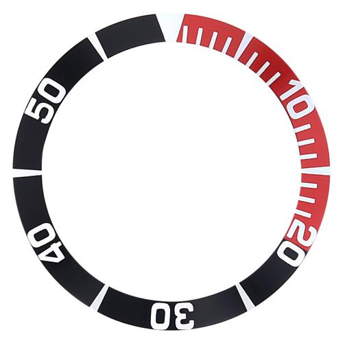 BEZEL INSERT FOR SEIKO 5 SEA URCHIN SNZ15K1, SNZF17 WATCH AUTO DIVER BLACK/RED