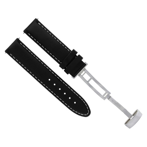 18-19-20-22 LEATHER BAND STRAP SMOOTH FOR ROLEX DATEJUST DEPLOYMENT CLASP BLACK