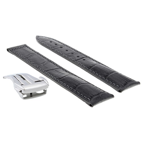 22MM LEATHER WATCH STRAP BAND CLASP FOR OMEGA SEAMASTER PLANET OCEAN GREY OS