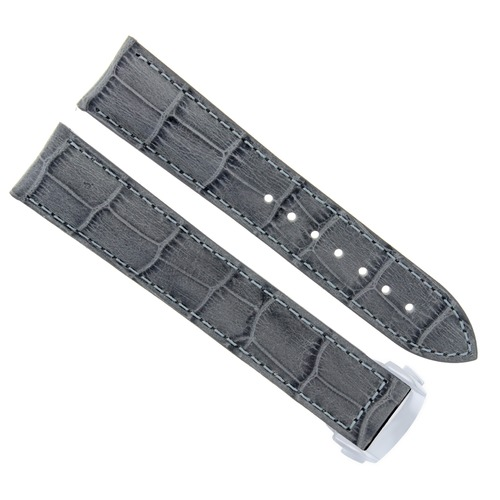 22MM LEATHER WATCH STRAP BAND FOR OMEGA SEAMASTER PLANET OCEAN GRAY