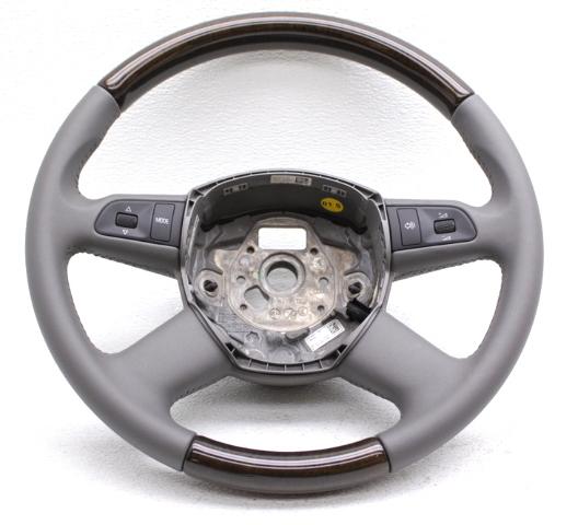OEM Audi A8 Gray Leather Steering Wheel w/Wood Trim 8K0419091BHVDY
