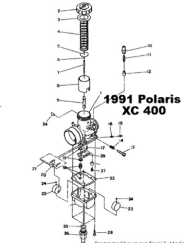 Polaris 1991 Xc 400 Snowmobile Carburetor Rebuild Kit