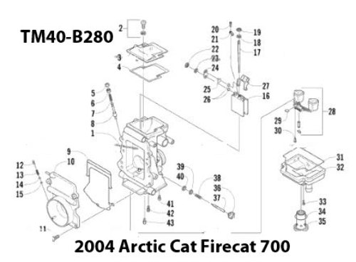 Arctic Cat F7 Firecat 700 Snowmobile Tm40 B280 Carburetor Rebuild
