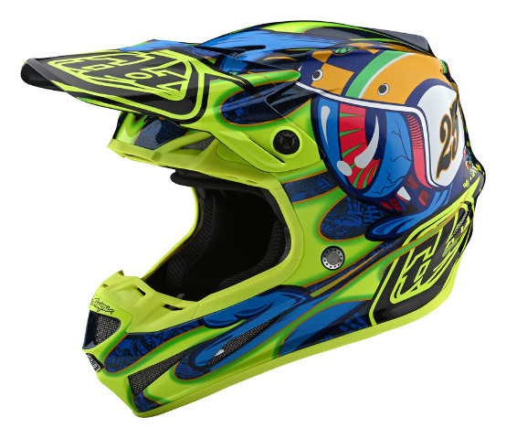 Troy Lee Designs SE4 Composite Eyeball Navy/Yellow Helmet - Size XS-2XL