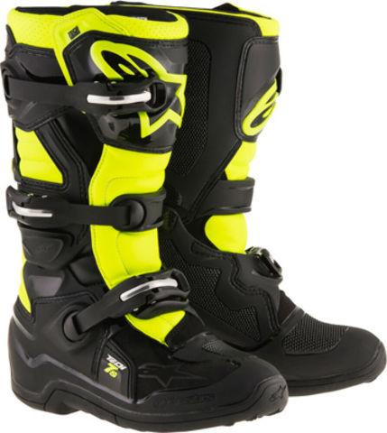 Alpinestars TECH 7S Youth MX CE Certified Boots - Black/Yellow - Sizes 2-8