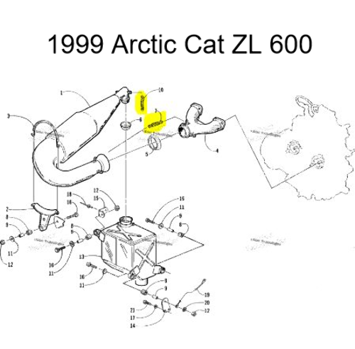 Arctic Cat ZL500 ZL600 ZR500 ZR600 Snowmobile Exhaust Spring