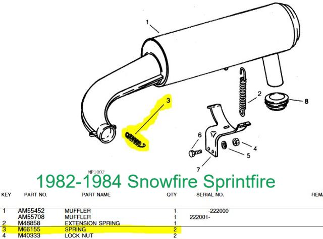 john deere trailfire sportfire snowfire sprintfire exhaust spring  $6 99 fits 1979 john deere trailfire 340