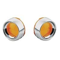 Kuryakyn 2108 Turn Signal Deep Dish Chrome Bezels w/Amber Lens For Harley Davids