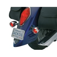 Kuryakyn 2269 Deep Dish Bezels with Red Lenses for Honda and Kawasaki Cruisers
