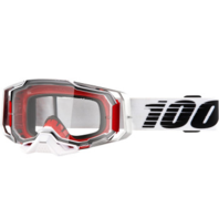 100% Armega Lightsaber Goggles White/Red w/Clear Lens
