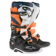 Alpinestars TECH 7  Black/Orange/White/Blue Off-Road Motocross Boots - Size 5-16