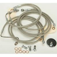 """Harley 09-13 FLHT/FLHR w/ABS 4-Line Steel Braided Brakeline Kit +6"""" Length"""