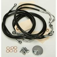 """Harley 09-13 FLTR w/ABS 4-Line Black Vinyl Brakeline Kit +12"""" Length"""
