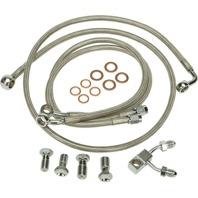 """Harley 11-13 FL/FXS w/ABS Steel Braided Brakeline Kit +10"""" Length"""