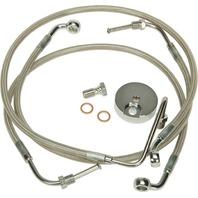 """Harley 08-13 FLHT w/o ABS 3-Line Steel Braided Brakeline Kit +2"""" Length"""