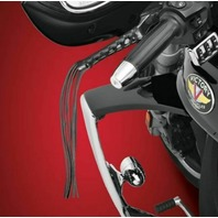 """Universal Black Leather Brake/Clutch Lever Grips w/ 12"""" Laces  1 3/4"""" x 4 1/2"""""""