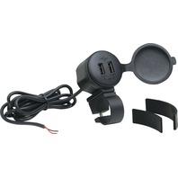 Universal 12V Handlebar Mount Dual Port USB Charger - Show Chrome 13-208