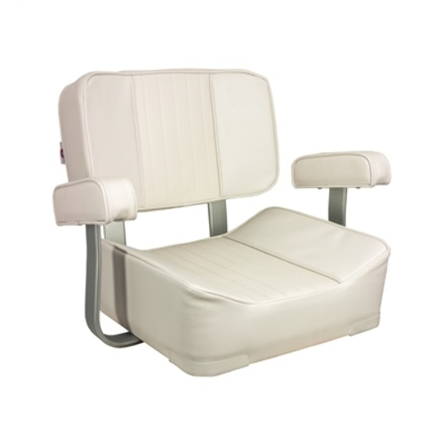 Springfield White Deluxe Helm Boat Captain Seat 1040002 w Alumin Armrest Boat MD
