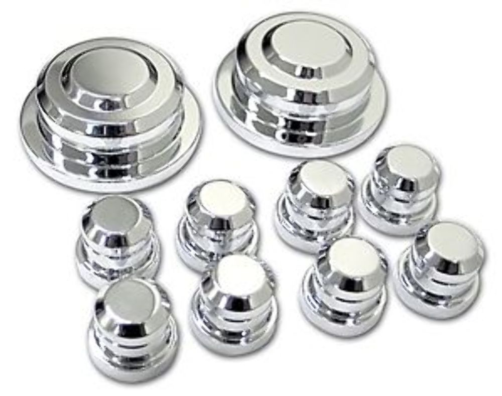 2005-2010 Mustang GT V6 Chrome Engine Strut Tower Caps Covers and Nuts 10pc Set