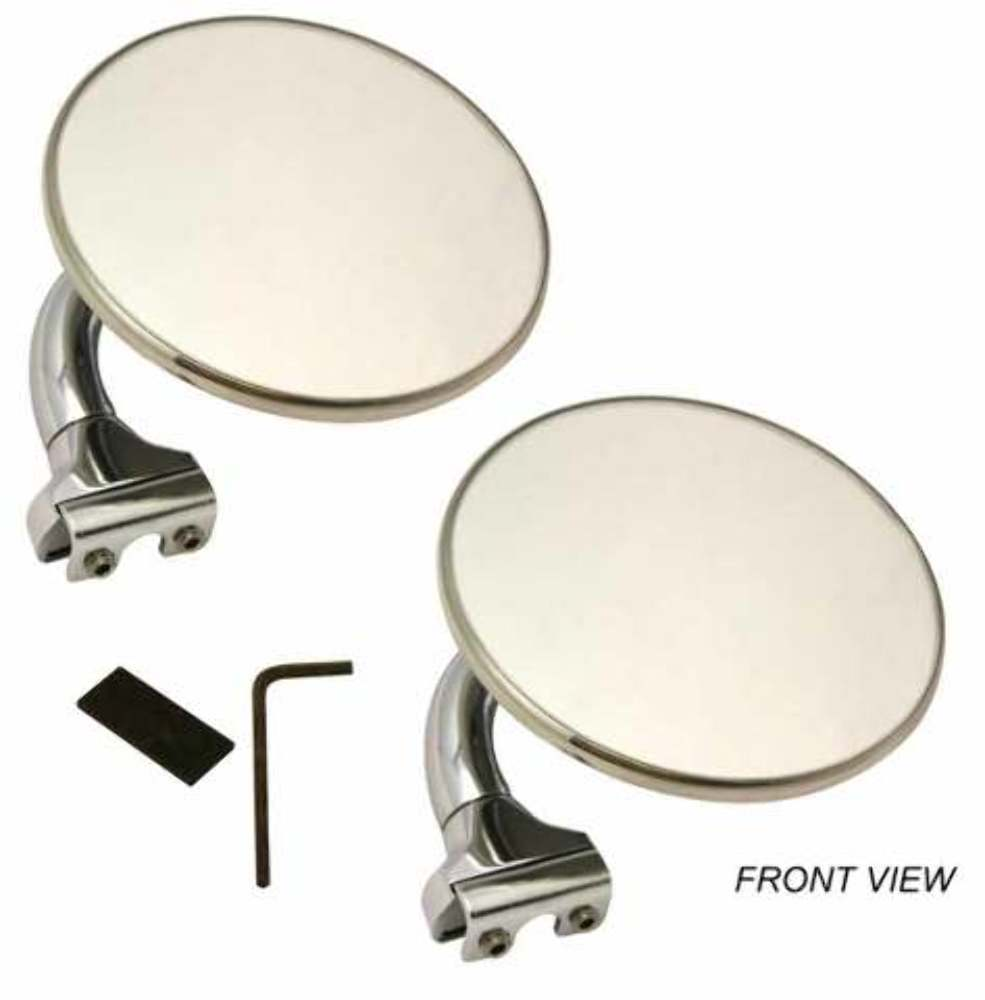 "Pair of 3/"" Stainless Universal Peep Mirrors Side View Door Edge Chrome Drip Rail"