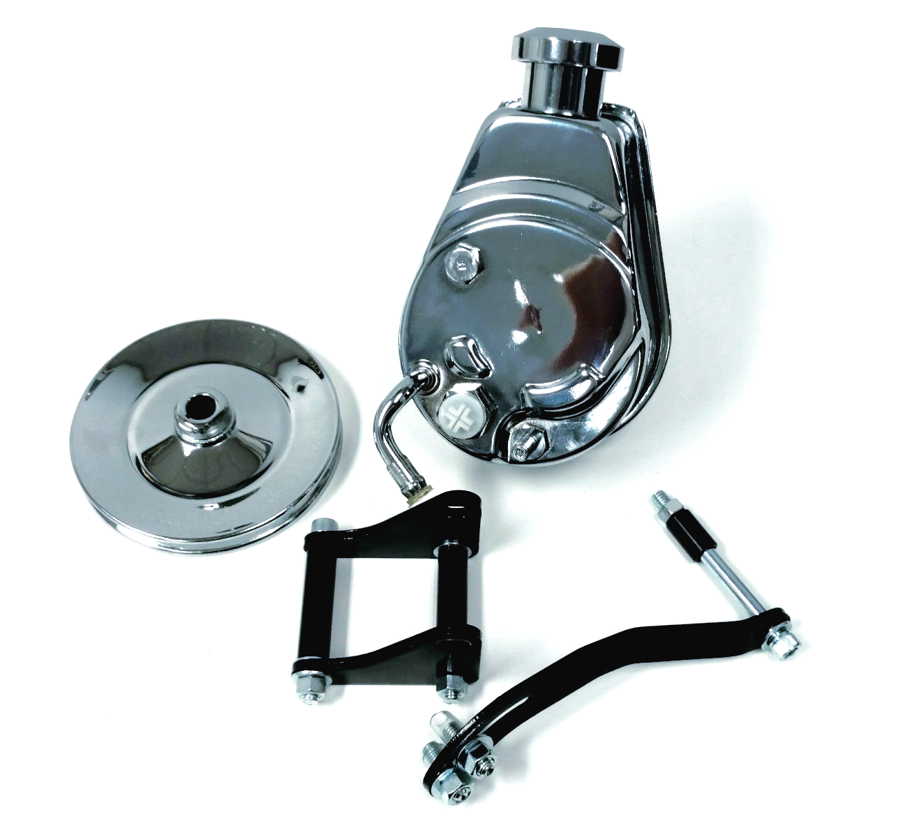 Saginaw Power Steering Pump >> Details About Sbc Chevy Chrome Saginaw Style Power Steering Pump W Pulley Black Bracket