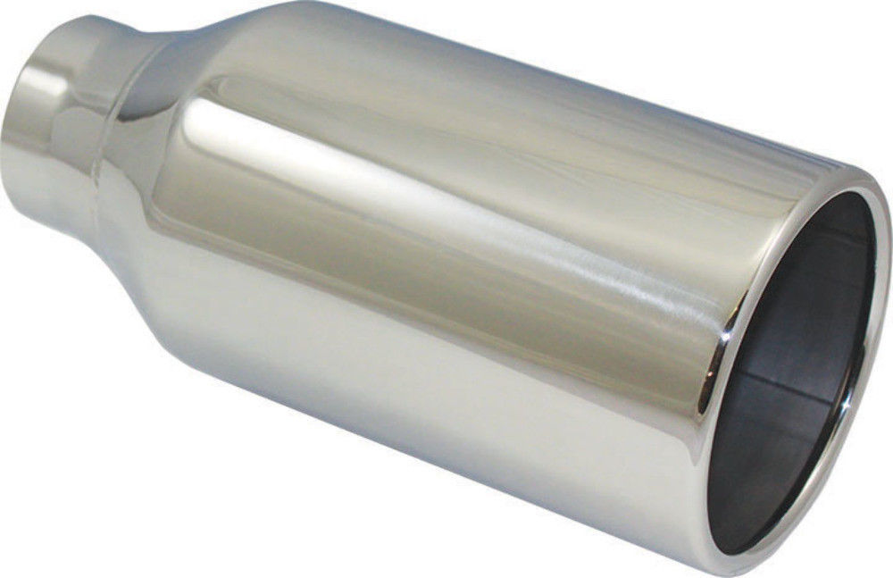 """2.5/"""" Inlet Trapezoid Rolled Out Exhaust Tip Polished Stainless Steel 4.5/"""" Long"""
