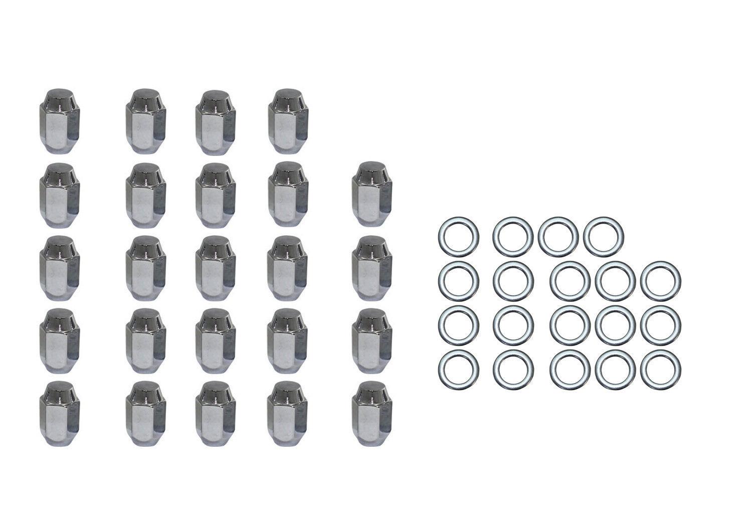 24 pc set chrome steel acorn shank lug nuts 7  16 u0026quot  x 20