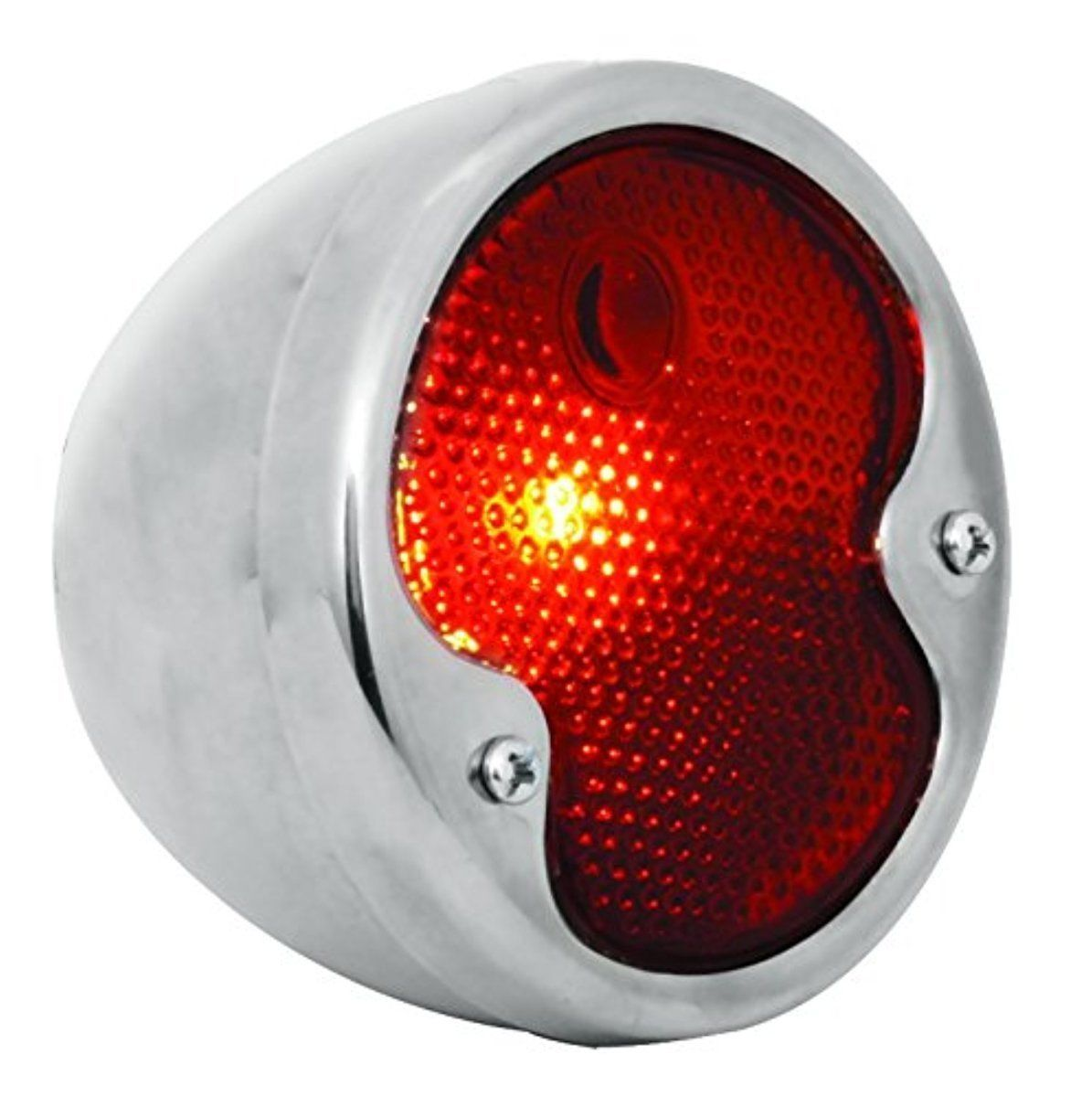 KNS Accessories KA0035 12V Stainless Steel Duolamp Tail Light for Ford Model A with Red Glass Lens