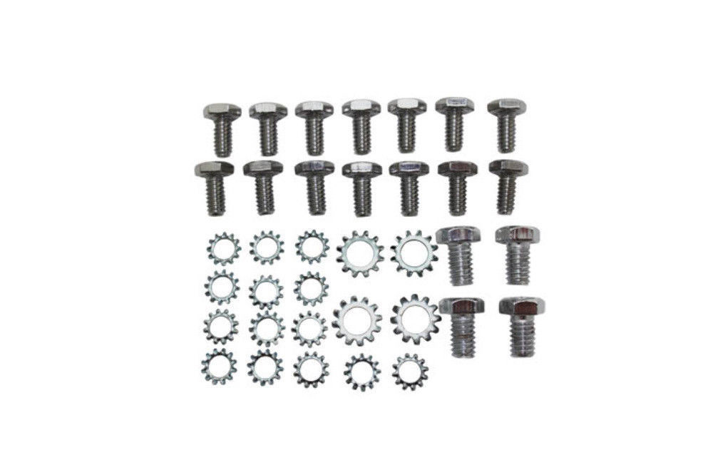 small block chevy chrome oil pan bolt  u0026 washer kit 283 327