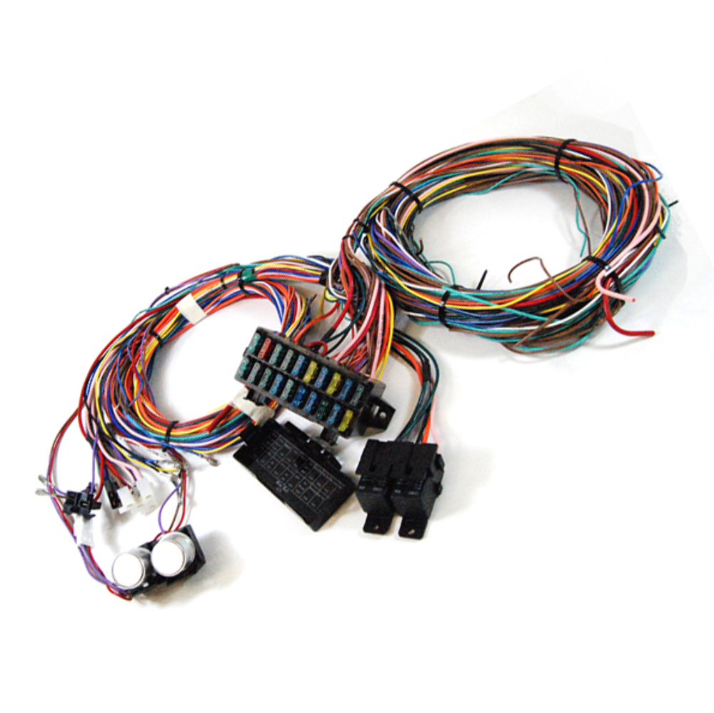 complete universal 12v 24 circuit 20 fuse wiring harness ... 20 circuit universal wiring harness kit universal automotive wiring harness kit #7