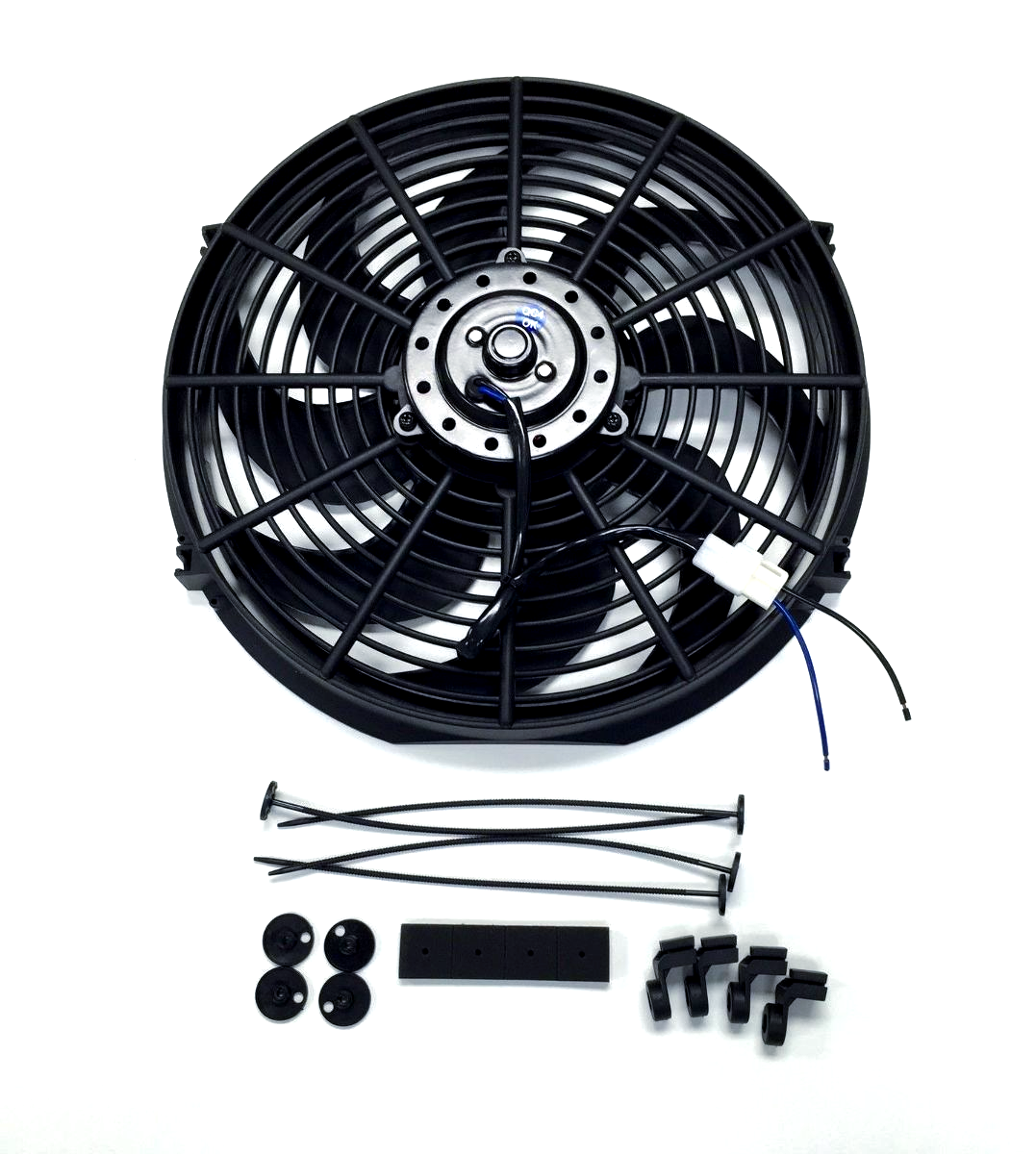 "Durable High CFM 12v Electric Curved S Blade 16/"" Radiator Cooling Fan Black ABS"
