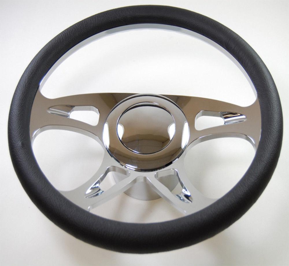 "14/"" Chrome Billet Aluminum /& Leather Wrap Banjo Steering Wheel street rat rod"