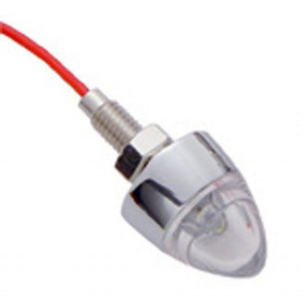 White 2//Card United Pacific 10862 Chrome 1 LED Bullet Fastener
