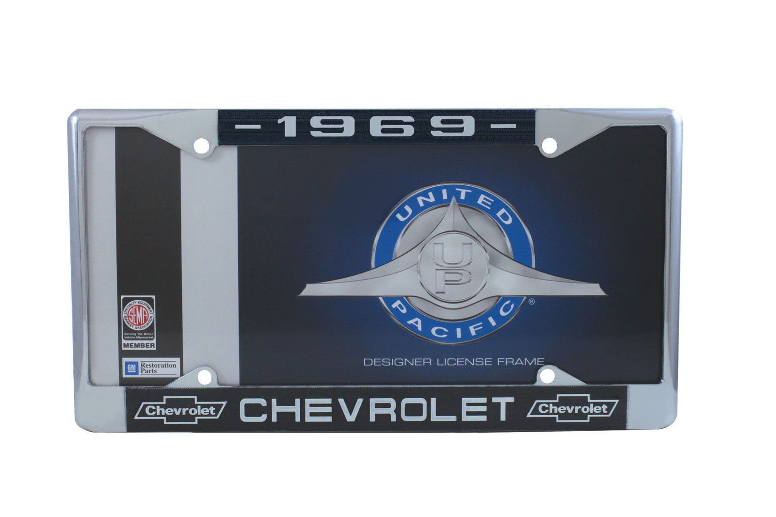White Script 1959 Chevy Chrome License Plate Frame with Bowtie Blue Set of 2