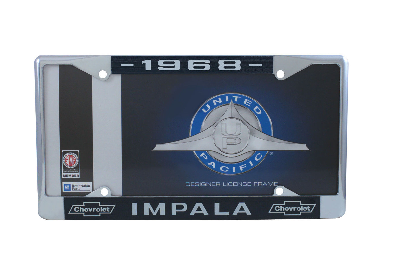 1962 Chevy Chrome License Plate Frame with Bowtie Blue Set of 2 White Script