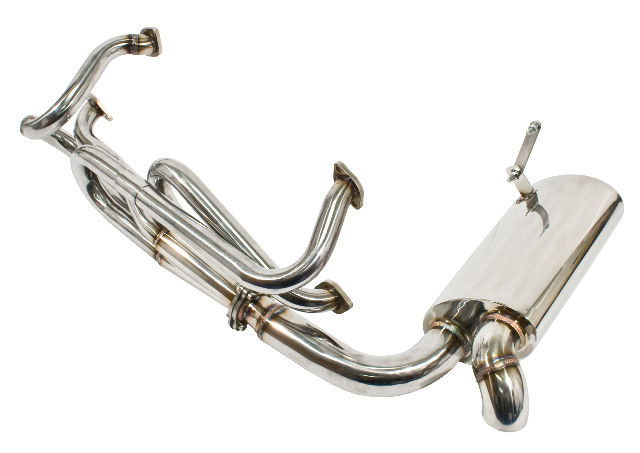 Stainless Steel Sideflow Merged Exhaust System w/ Muffler, VW Type 2, 1968-1971