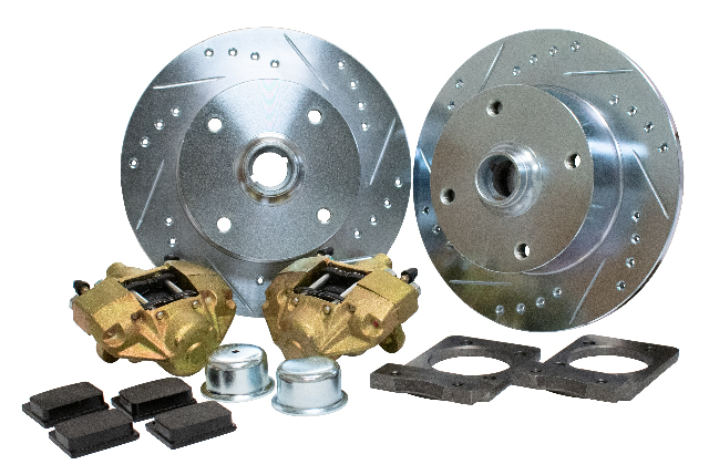 Front Disc Brake Kit, Super Beetle, 4x130 with 14x1.5mm threads