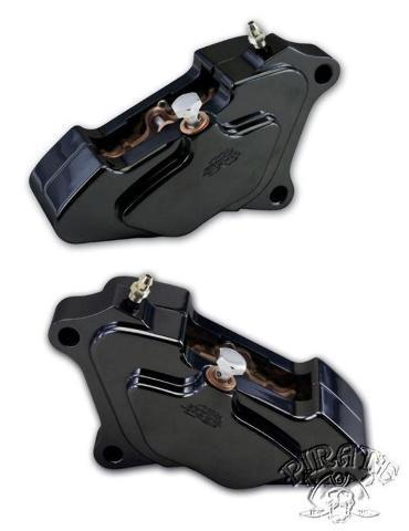 Harley Bagger Black Billet Front Brake Caliper Package 00-17 FLH