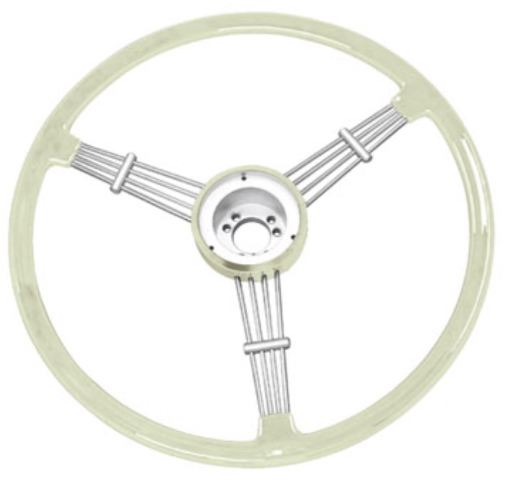 """Banjo"" Style Vintage Steering Wheel Kit, Silver / Grey"