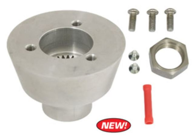 """Banjo"" Steering Wheel Boss Kit, 3-Bolt Mount w/ 24 Splines, Fits Type 1 & Ghia 49-59"