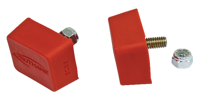 """Bump Stop, 7/8"""" x 1-7/8"""" x 1-3/8"""" w/ Center Stud, Pair, Red, Compatible with VW Dune Buggy"""