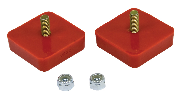 "Bump Stop, 5/8"" x 2"" x 2"" Square w/ Center Stud, Pair, Red"