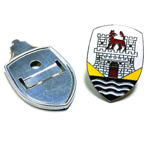 Emblem Hood Badge with Base Plate Wolfsburg Type 1 Beetle YELLOW,1953 thru 1962 VW