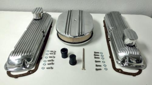 SB Ford Finned Aluminum Valve Cover w/ Air Cleaner Kit SBF V8 260 289 302 351W